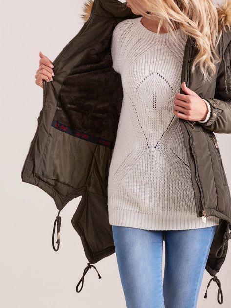 Khaki damska kurtka na zimę                              zdj.                              6