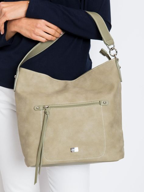 Khaki damska torba na ramię z ekoskóry