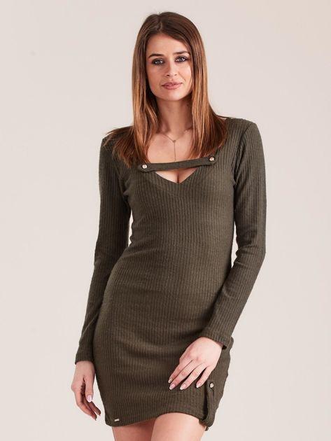 Khaki dopasowana sukienka z głębokim dekoltem V                              zdj.                              1
