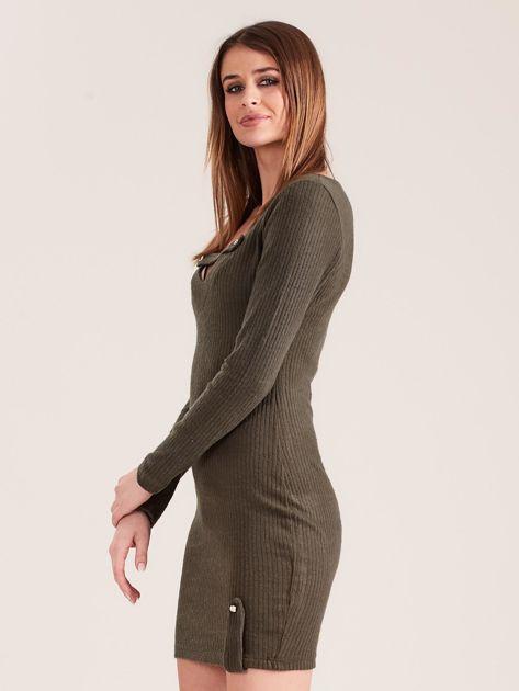 Khaki dopasowana sukienka z głębokim dekoltem V                              zdj.                              3