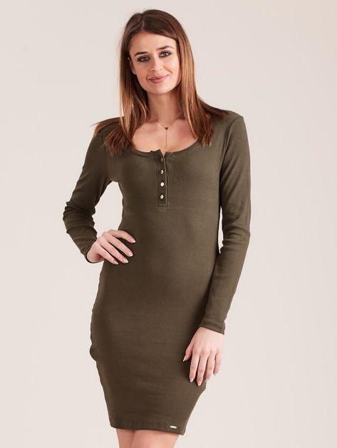 Khaki dopasowana sukienka z guzikami                              zdj.                              1
