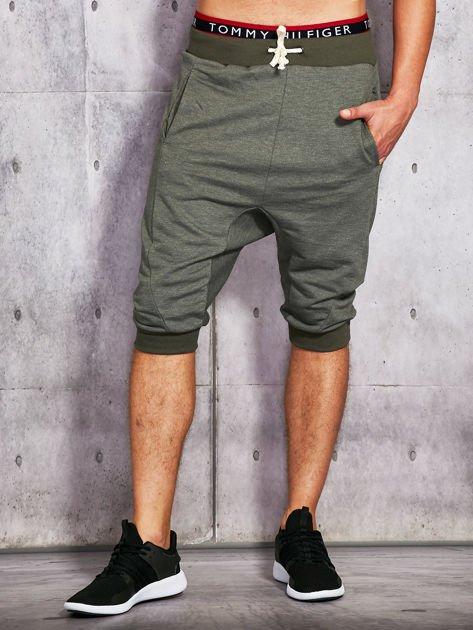 Khaki dresowe szorty męskie ze ściągaczami                              zdj.                              1