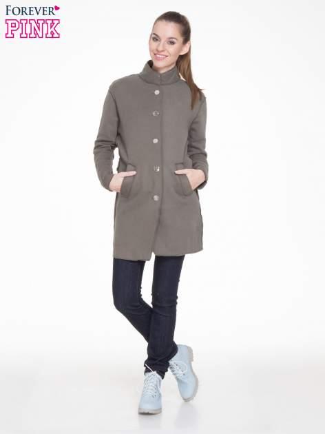 Khaki dresowy płaszcz o kroju oversize                                  zdj.                                  2