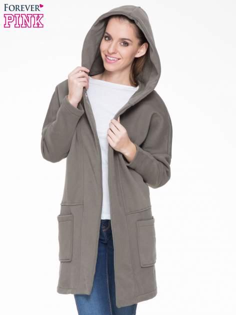 Khaki dresowy płaszcz z kapturem i kieszeniami                                  zdj.                                  5