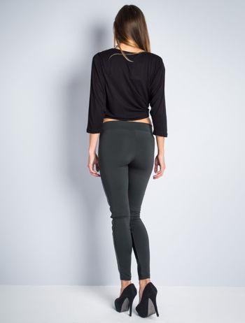 Khaki dwustronne legginsy skórzane                                  zdj.                                  5
