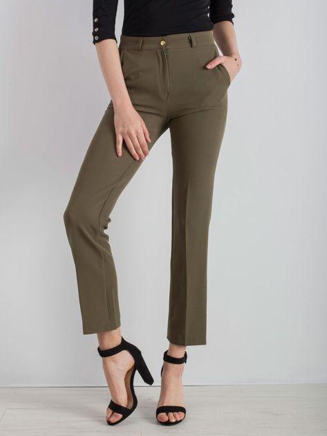 Khaki eleganckie spodnie                              zdj.                              1