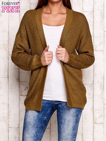 Khaki fakturowany otwarty sweter