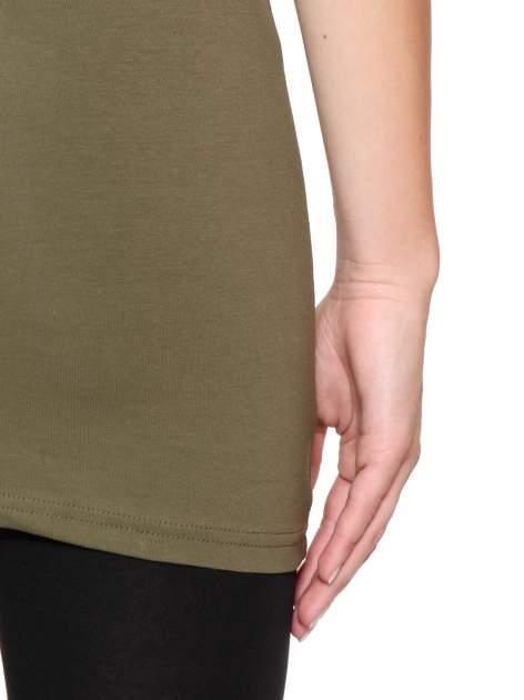 Khaki jednolity top na szerokich ramiączkach                                  zdj.                                  9