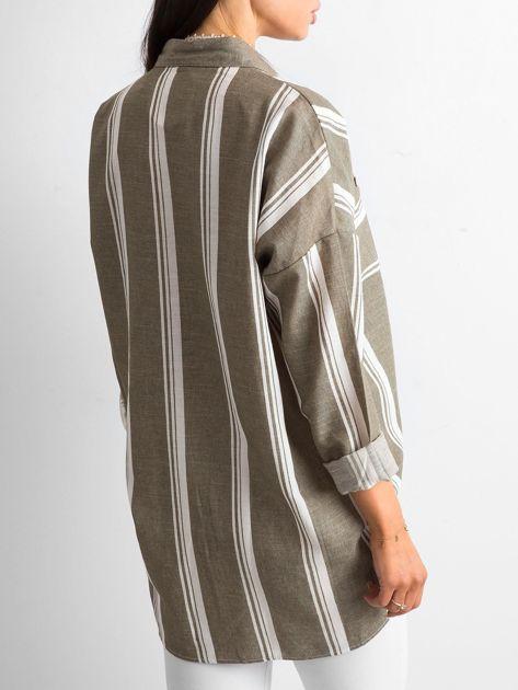 Khaki koszula damska w paski                              zdj.                              2