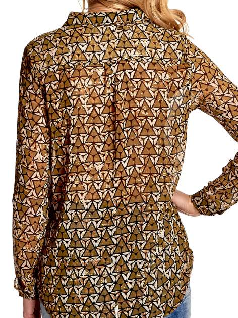 Khaki koszula mgiełka w geometryczne wzory                                  zdj.                                  7