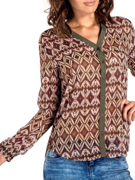 Khaki koszula w etniczne wzory                                   zdj.                                  6