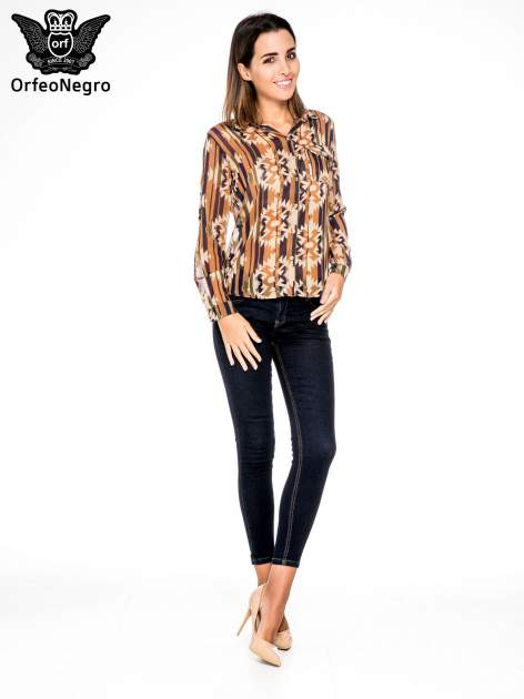 Khaki koszula w etniczne wzory z kieszonką                                  zdj.                                  4