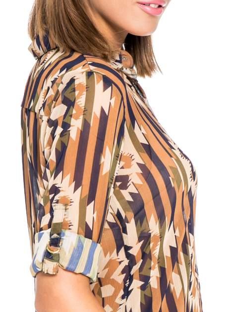 Khaki koszula w etniczne wzory z kieszonką                                  zdj.                                  6