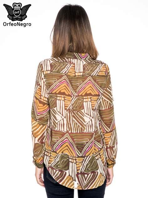 Khaki koszula w kolorowe zygzaki
