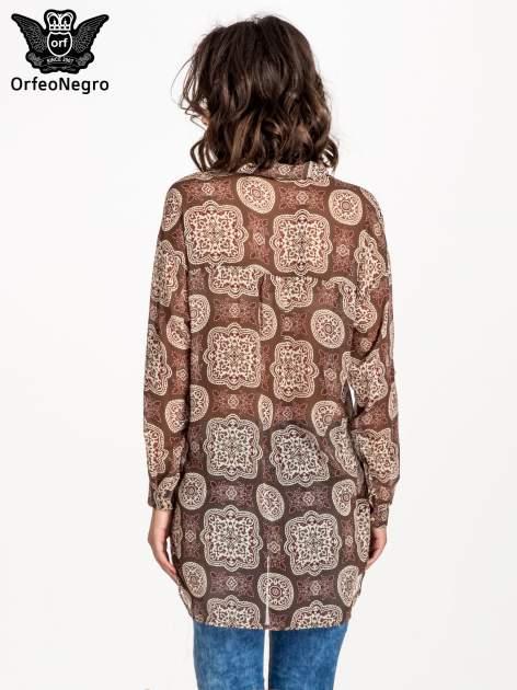 Khaki koszula w ornamenty kwiatowe                                  zdj.                                  3