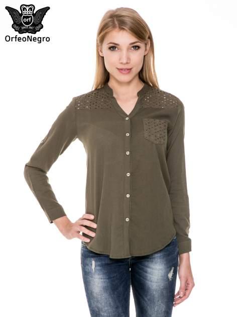 Khaki koszula z ażurowaniem na górze i kieszonką                                  zdj.                                  1