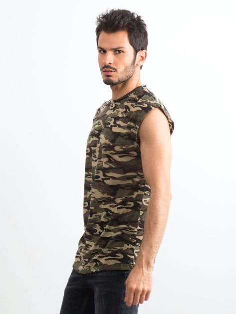 Khaki koszulka męska z nadrukiem moro                              zdj.                              3