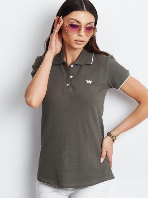 Khaki koszulka polo z motylem                              zdj.                              4