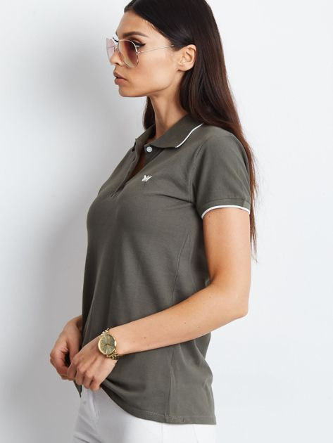 Khaki koszulka polo z motylem                              zdj.                              3