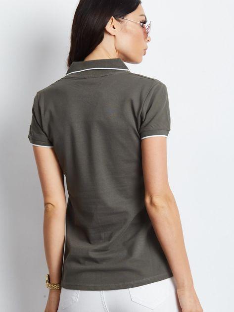 Khaki koszulka polo z motylem                              zdj.                              5