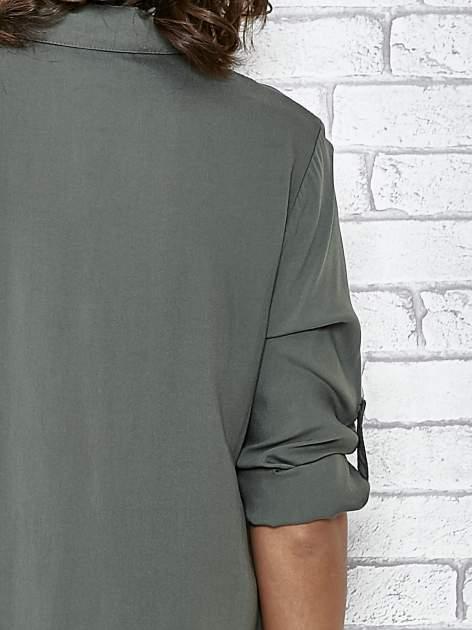 Khaki koszulotunika z rozcięciami                                  zdj.                                  6