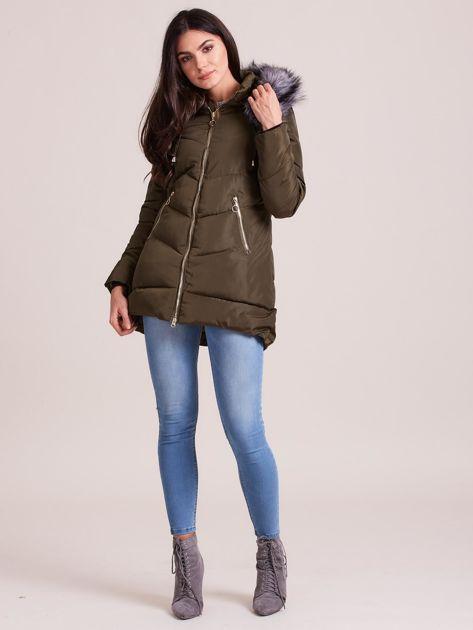 Khaki kurtka zimowa z kapturem i futerkiem                              zdj.                              4