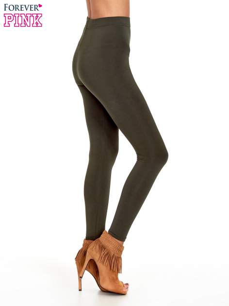 Khaki legginsy basic z lekkim ociepleniem                                  zdj.                                  3