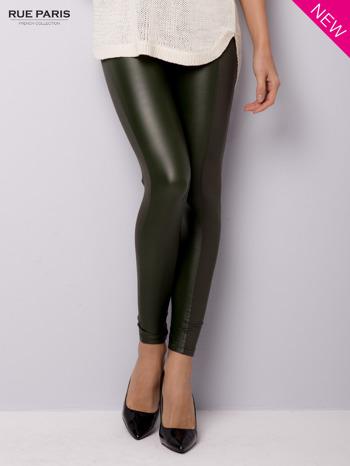 Khaki legginsy z łączonych materiałów                                  zdj.                                  1