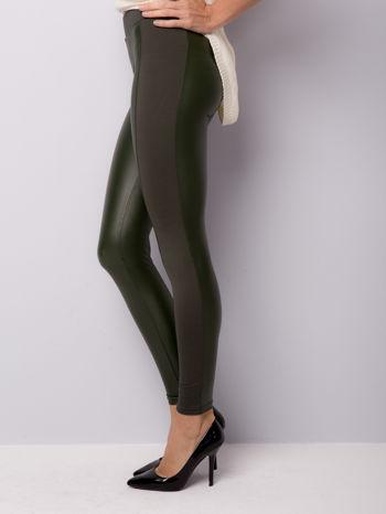 Khaki legginsy z łączonych materiałów                                  zdj.                                  4