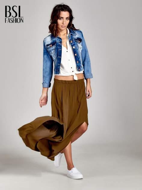 Khaki spódnica maxi z rozporkami z przodu                              zdj.                              2
