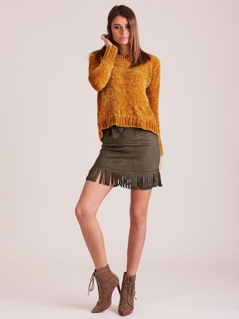 Khaki spódnica z frędzlami                              zdj.                              4