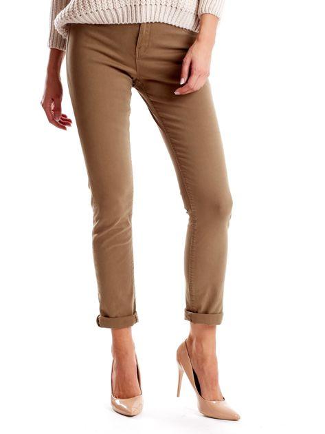 Khaki spodnie damskie o prostym kroju                              zdj.                              1