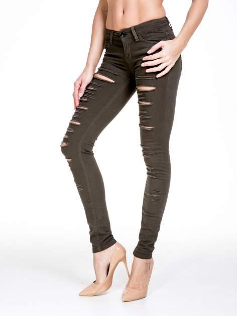 Khaki spodnie typu trash jeans