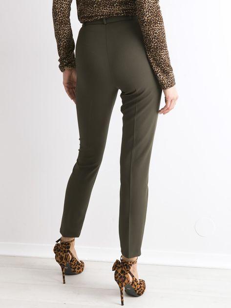 Khaki spodnie z wiązaniem                               zdj.                              2