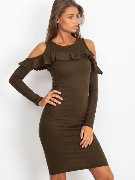 Khaki sukienka cut out z falbaną                              zdj.                              3