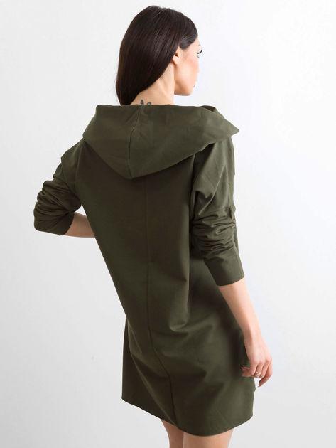 Khaki sukienka dresowa z szerokim kołnierzem                              zdj.                              2