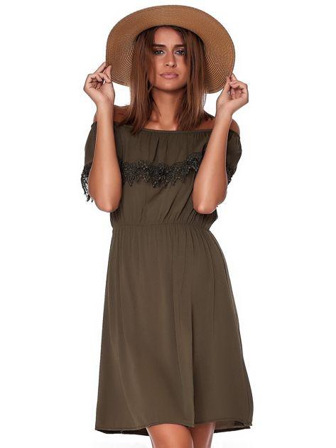 Khaki sukienka hiszpanka mini z falbanką przy dekolcie                              zdj.                              1