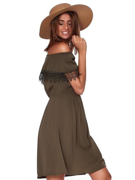 Khaki sukienka hiszpanka mini z falbanką przy dekolcie                              zdj.                              5