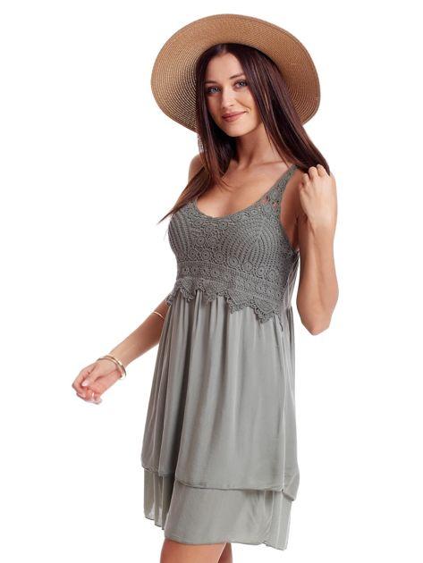 Khaki sukienka na cienkich ramiączkach                              zdj.                              3