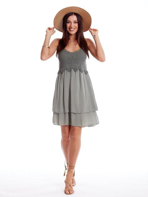 Khaki sukienka na cienkich ramiączkach                              zdj.                              4