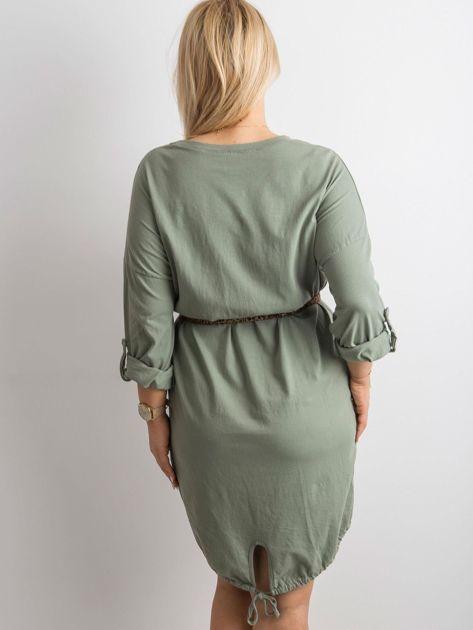 Khaki sukienka z bawełny                              zdj.                              2