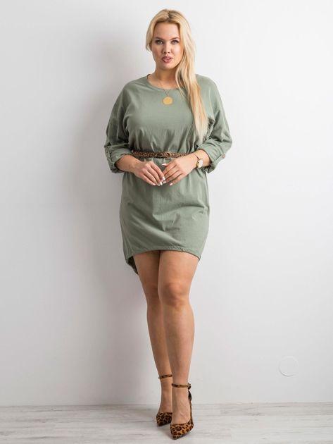 Khaki sukienka z bawełny                              zdj.                              4