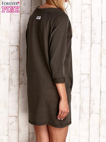 Khaki sukienka z troczkami                              zdj.                              4