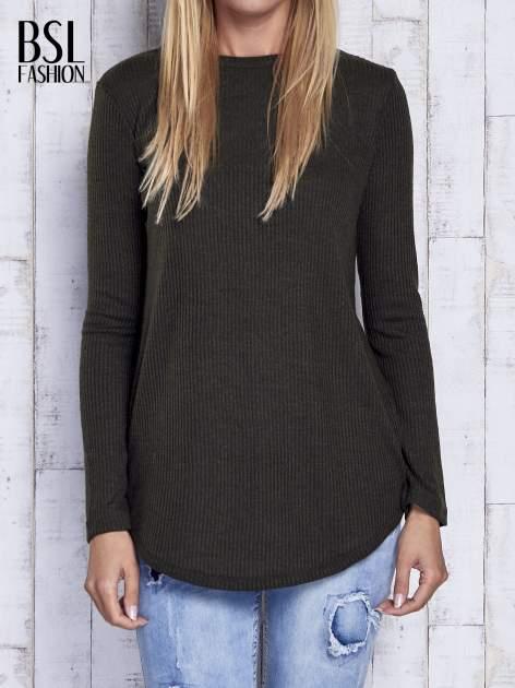 Khaki sweter w prążki                                  zdj.                                  1
