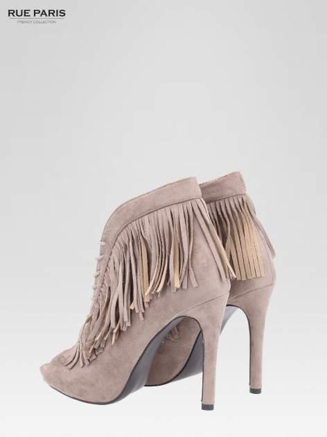 Khaki sznurowane botki faux suede Lea open toe z frędzlami                                  zdj.                                  5