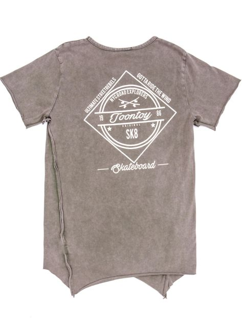 Khaki t-shirt dziecięcy z surowym wykończeniem i nadrukiem z tyłu                              zdj.                              2