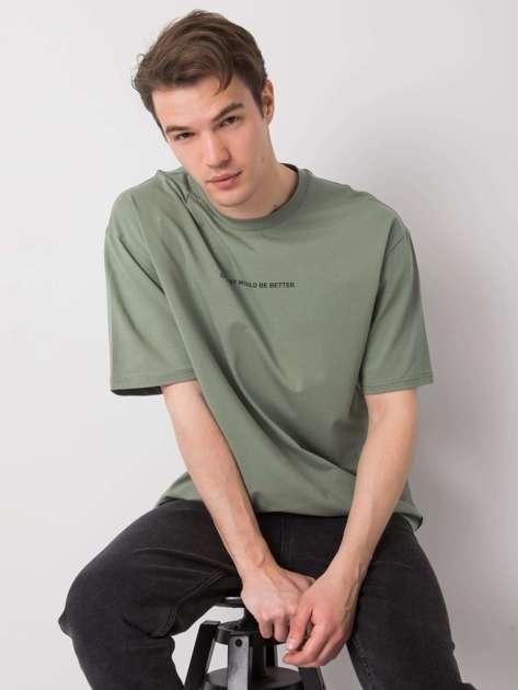 Khaki t-shirt męski z napisem LIWALI