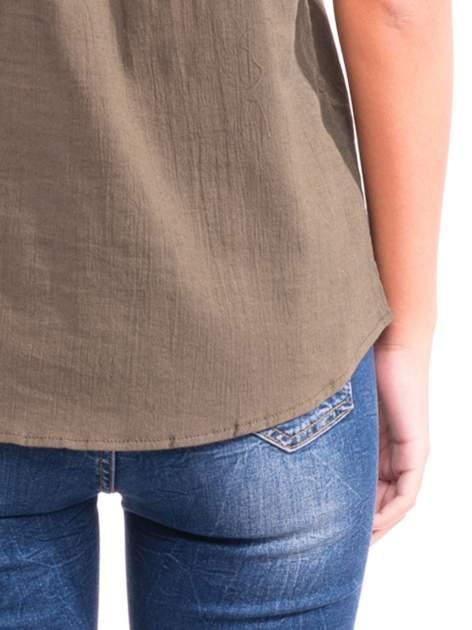 Khaki top z haftem w etnicznym stylu                                  zdj.                                  7
