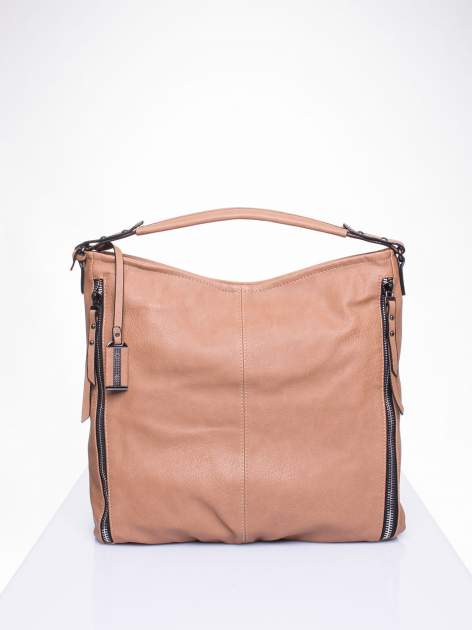 Khaki torba hobo z suwakami po bokach