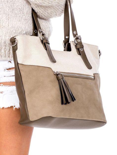 Khaki torba z chwostem i odpinanym paskiem                              zdj.                              3